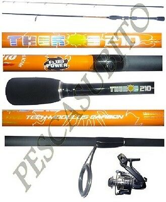 kit canna light spinning theros 2.10m 2/10g + mulinello pesca trota lago