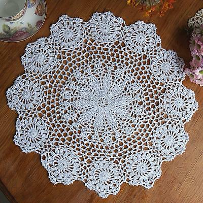 "14.5"" Lace Floral Round Cream Hand Crochet Cup Mat Doilies Coasters Wedding"