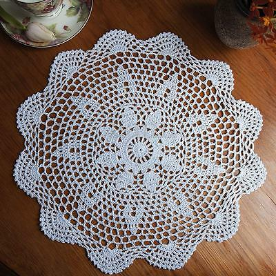 """14.5"""" Lace Floral Round Cream Hand Crochet Cup Mat Doilies Coasters Wedding"""