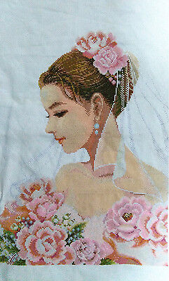 "NEW Completed finished handmade cross stitch""BRIDE""decor sale"