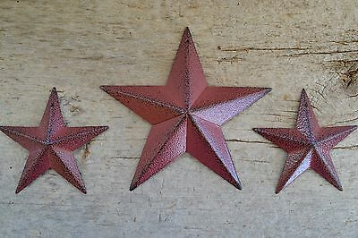 "Set of 3 ~ 5.5"" / 3.5"" BURGUNDY BLACK BARN STAR Metal Tin Primitive Country"