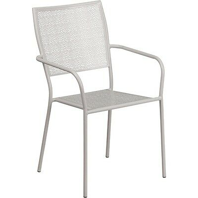 Flash Furniture Light Gray Indoor-Outdoor Steel Patio Arm Chair with Square Back