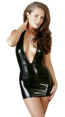 Sexy Wetlook Kleid Schwarz Neckholder Minikleid Clubfashion Party Dress S bis XL