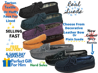 Mens Jo & Joe Real Leather Suede Comfort Slip On Classic Moccasin Slippers