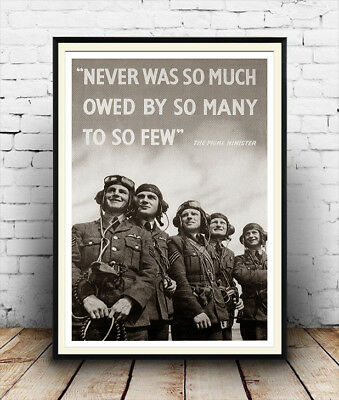 Never was so much , Vintage British WW2 Reproduction poster, Wall art.
