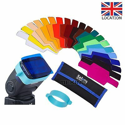 UK Selens 20 pcs Flash Speedlight Speedlite Color Gels Filter Kit w/ Gels Band