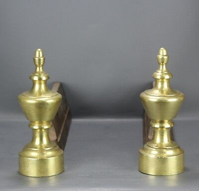 French vintage  Cast Iron & Brass Fireplace Andirons