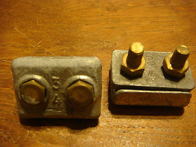 """2 - ITALY 3/4"""" Tiller Wire Rope Clamp Galv BRONZE steering NOS VINATAGE ITALY"""