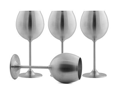 Modern Innovations Stainless Steel Wine Glasses, Set of 4, 12 Oz