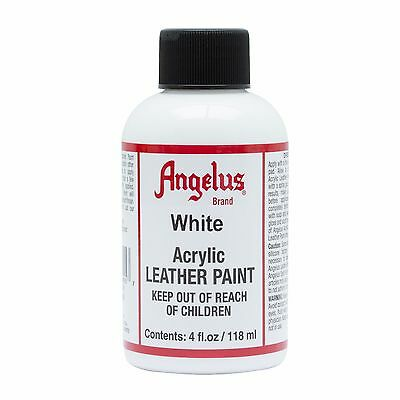 Angelus WHITE acrylic leather paint / Dye 4 oz bottle for Shoes Bags Boots
