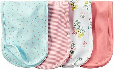 Carter's Baby Girl Burp Cloths 4 Pack ~Floral ~Stripes ~Mint Green, Pink & White
