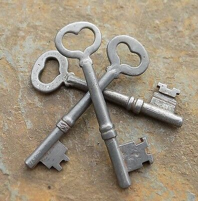 3 Antique  Heart Shaped Bow Mortise Lock Skeleton Keys