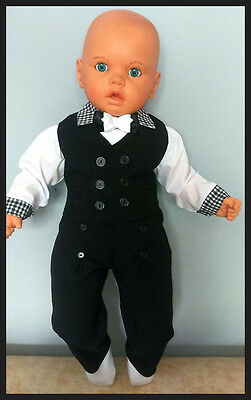 Baby Boy Black Outfit Smart Suit Wedding Christening Baptism Party 3 6 9 12M