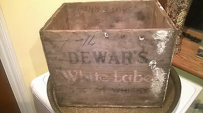 Lovely  Vintage Advertising Dewars Whiskey Wooden Box, wedding  prop, man cave.