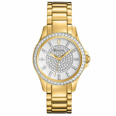 Bulova Women's Gold Tone Stainless Steel Crystal Watch 98L171