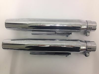 """Emgo Mufflers Tapered 15"""" Chrome Custom Universal Pipes Exhaust Motorcycle"""