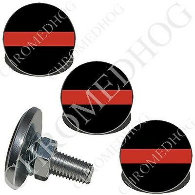 2 Silver Billet Cycle License Plate Frame Tag Bolts RED WHITE HOT ROD PINSTRIPE