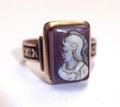 Antique Victorian Greek Male Warrior Agate Cameo 10K Rose Gold Ring Size 7.75