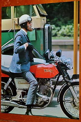 70s PHOTO MAN WITH SUIT ON NORTON MOTORCYCLE IN SYDNEY AUSTRALIA - VINTAGE