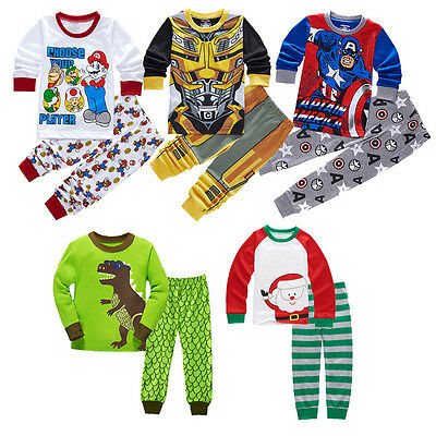 Kids Baby Boy Toddler 2PCS Set Super Mario Sleepwear Nightwear Pajamas 2-7Y