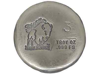 Hand Poured 3 Troy Ounce .999 Silver Bison Bullion Round USA Made AG-47 Bar