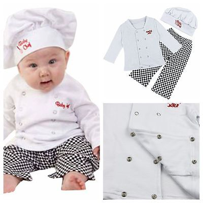 Halloween Baby Boys Girls Cook Chef Party Costume Outfit Top+Pant+Hat Set 6-24M