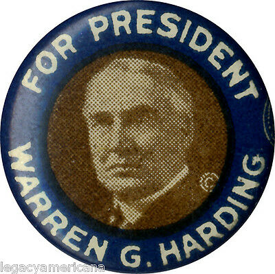 Vintage 1920 Warren Harding Celluloid Gem Picture Campaign Button (2882)