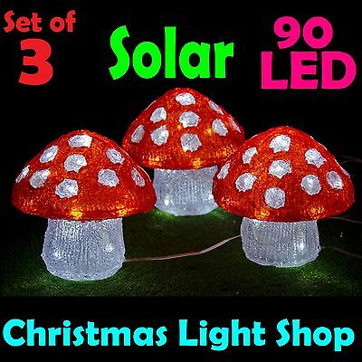 3 Solar LED Acrylic Mushrooms Red White Outdoor Christmas Garden Party Lights