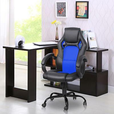 Blue High-Back Executive Racing Office Chair Computer Desk PU Leather Swivel