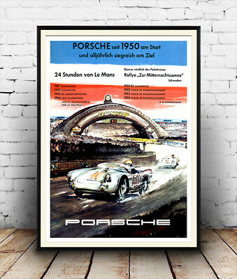 Porsche 1950 , Vintage motor racing advertising Reproduction poster, Wall art.