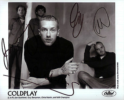 Coldplay Autograph Signed Music Photo Preprint Martin Buckland Berryman Champion