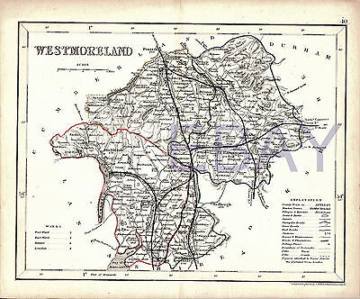 Hand Tinted Antique 1800s Map Engraving:  WESTMORLAND, Ambleside, Appleby etc
