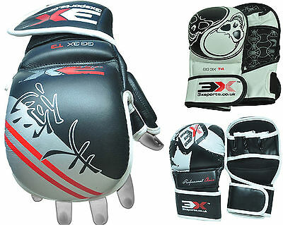 3XSports Leather Grappling Gloves UFC Sparring Fight Kick Boxing MMA Punch Bag