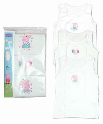 Girls Peppa Pig Pack of 3 White Cotton Vests Underwear 12 Months to 4 Years