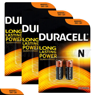 6 x Duracell Alkaline N LR1 1.5V batteries MN9100 E90 AM5 2 in Pack EXP:2020