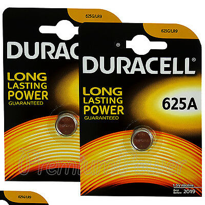 2 x Duracell Alkaline 625A 1.5V batteries 625G LR9 EPX625 E625G Key fob EXP:2019