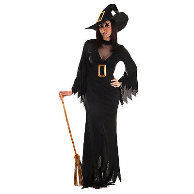 Black Witch Halloween Costume Scary Adult Fancy Dress Womens Size UK 8-12