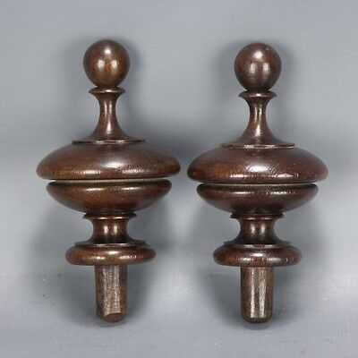 French Antique Hand Turned Primitive Wooden Finials