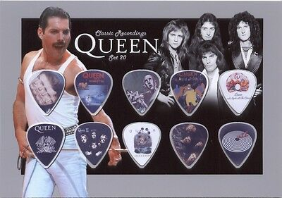 Queen (7) guitar picks on photo display LIMITED