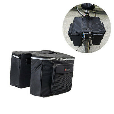 Black Cycling Bicycle Rack Rear Seat Tail Carrier Trunk Double Pannier Bag