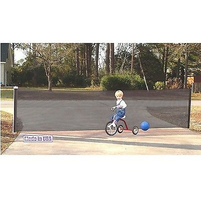 Kid Kusion Retractable Driveway Guard 18 feet Safety Net In Black, 4730 New