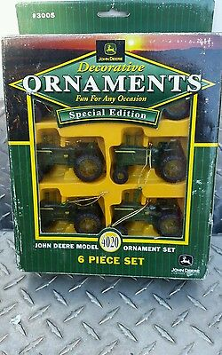 John deere 4020 Tractor ornament set of 6 new Free ship party tree htf! Nice!