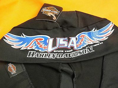 Genuine HARLEY-DAVIDSON Motorcycle Black Do Rag Skull Cap USA Red White Blue NWT