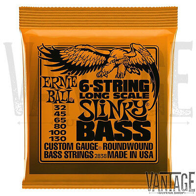Ernie Ball 2838 Long Scale Slinky 6 Nickel Wound Electric Bass Strings (32-130)