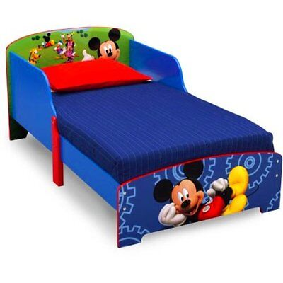Toddler Bed Frame Disney Mickey Mouse Wood Rails Headboard Kids Furniture New