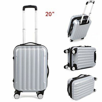 20'' Valise Cabine Bagage Coque Rigide 4 Roues Spinner ABS Trolley Argent