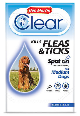 Bob Martin Clear Spot On For Medium Dogs 10-20Kg 1 Tube new & boxed