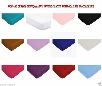 Luxury Combed Poly Cotton Bed Sheet Percale Plain Fitted Bedding Pillow Cases