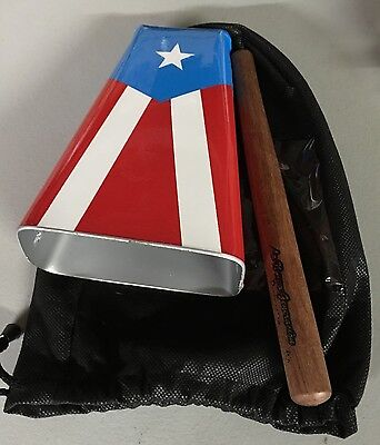Hand Held Cowbell Painted With The Design Of The Puerto Rico Flag. ES-4 Type.