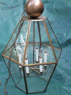 """Vintage 32"""" H Brass & Faux Glass Entry/Foyer Pendant  Light (Indoor /Outdoor)"""